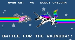 Nyan Cat Vs Robot Unicorn by monjava