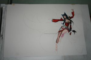 LoL: Ahri in watercolor WIP II by Angelstorm-82