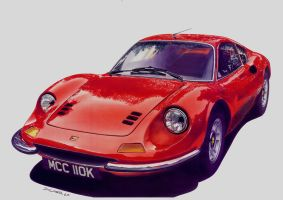 car illustration- Ferrari Dino by DANIELECARDESIGN