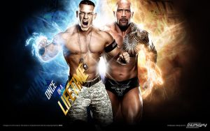 The Rock vs. John Cena WrestleMania 28 Wallpaper by AlphaMoxley95
