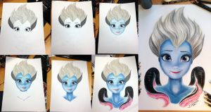 Ursula Color Pencil Drawing step by step by AtomiccircuS