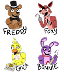 FNaF Stickers by D4wn-Flow3r