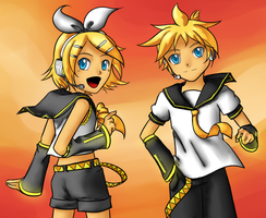 Colored lineart - Len and Rin by Akeudi