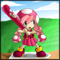 Toadette at Bat by morganchan