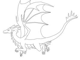 Flying Dragon Lineart by dragongirl00