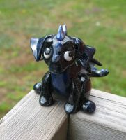 Marbled black and blue dragon by Blenia