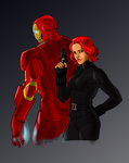 Iron man and Black Widow by Ferroconcrete247