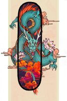 Lotus Dragon Skateboard Design by ovoquill
