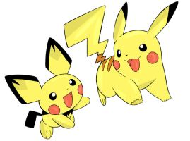 Pichu and Pikachu Being Happy by PikaGrl