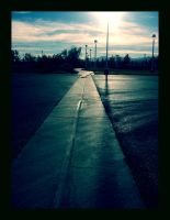 wet pavement + shining lights by Chexee