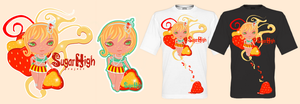 Strawber Tee's and sticker by HeirOfGlee