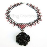 Black and Red Rose Chainmaille Necklace by merigreenleaf