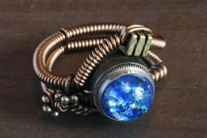 Blue Harlequin Glass Steampunk Ring by CatherinetteRings