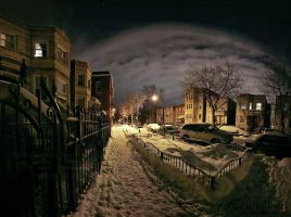 -1 Chicago night panorama by delobbo