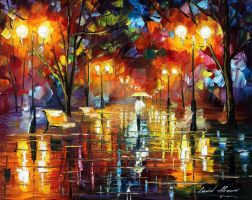 Evening stroll by Leonid Afremov by Leonidafremov