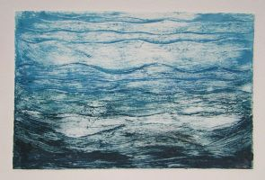 untitled collagraph-water 1of3 by celacia