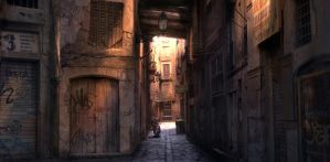Barcelona Alleyway Sunrise by atomhawk
