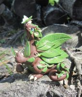 Forest Dragon and Moth Polymer Clay Dice Dragon by MiniMythicalMonsters