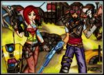 Borderlands - Lilith and Mordecai in Arid Badlands by raptorthekiller