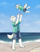 Father and Son at the Beach by TheTiedTigress