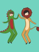 Dan the Dinosaur and Phil the Lion :D by Jumbreon