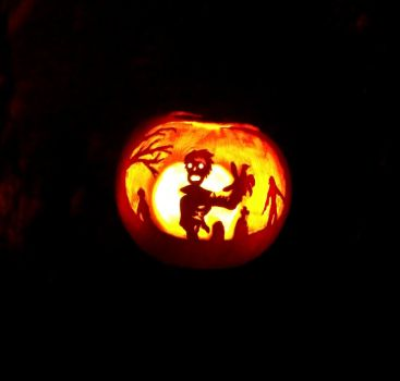 Zombie pumpkin carving by Silmegil