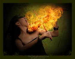 Violin girl on fire by TFK1990