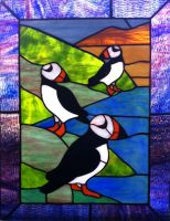 Stained Glass Puffins 2 by tursiart