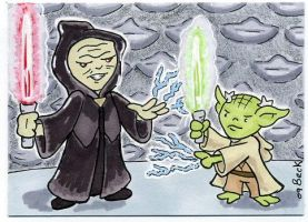 Emperor and Yoda duel by beckadoodles