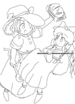 Reimu and Marisa Pc98 (Line Art) by MGLTH