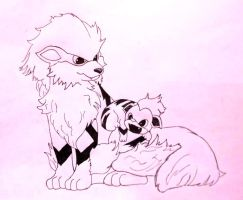 Arcanine and Growlithe Sketch by Dragonography