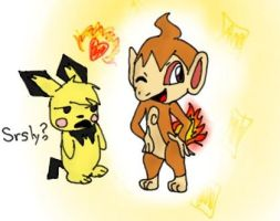 Pichu is so done with Sassy Chimchar by pokemonpuppy1