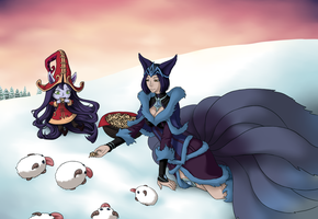 Ahri and Lulu feeding Poros for hirami-chan by SomedaySakuhin