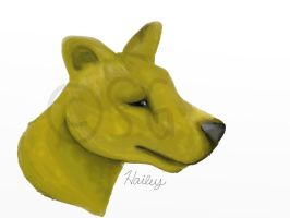 *1st digital painting!*thylacine headshot painting by wolfhailstorm