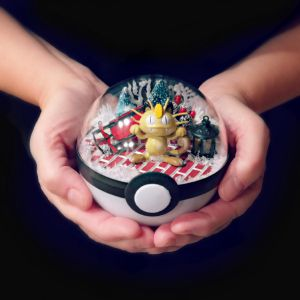 Meowth Christmas Town - Poke Ball Terrarium by The-Vintage-Realm