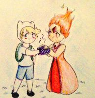 Flame Princess and Finn Chibi by AddyinWonderland