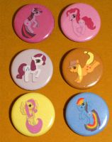 Mane Six Pony Buttons by Tia-Lee