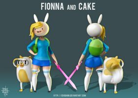 Fionna and Cake - Adventure Time WIP 5 by Ichidann