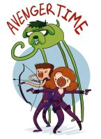 Avenger Time with Black Widow Hawkeye and Hulk! by demonic-black-cat
