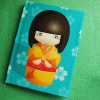 kokeshi Doll Notebook in teal by Mimi-Mushroom