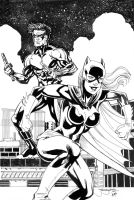 Batgirl Nightwing Inks by ladykelly