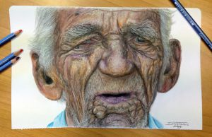 Color pencil of an old man by AtomiccircuS