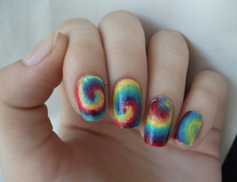 Tie Dye Nail Art! by Kito-eagle