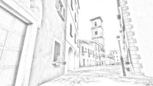 Back Street - pencil by JV-Andrew