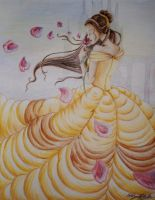 Belle with Rose Petals by afoulke169