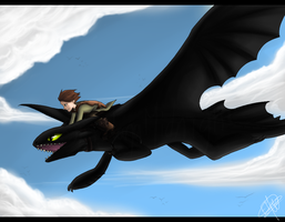 HtTYD - Flying in the sky by EndanaMidnight