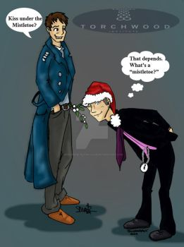 Jack,Ianto and Mistletoe.. by Whoverse-Slash-Club