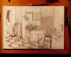 Instead of cleaning my kitchen I drew it by keiross
