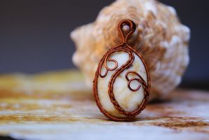 Wire wrapped copper pendant with mountain rock by memysandi