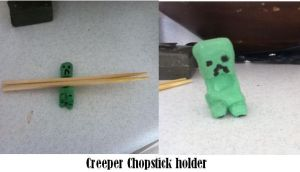 Creeper chopstick holder by Bloodthirstycats77